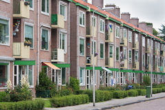 Typical Dutch residential street with flats Royalty Free Stock Photo