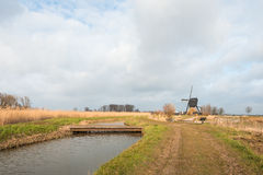 Typical Dutch rural landscape on a cloudy day Stock Image