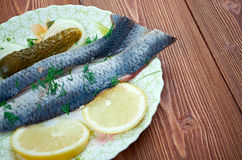 Typical Dutch salted herring stock photos