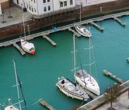 Typical dutch scenery, Docks of Vlissingen with boats, Zeeland, the Netherlands stock photography