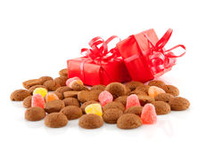 Typical dutch sweets: pepernoten and presents Royalty Free Stock Photo