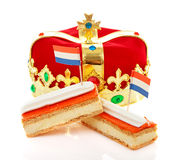 Typical Dutch tompouce sweet with crown Royalty Free Stock Images