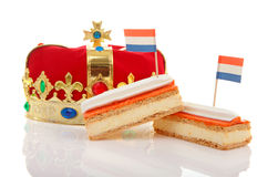 Typical Dutch tompouce sweet with crown Royalty Free Stock Photography