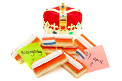Typical Dutch tompouce sweet with crown Royalty Free Stock Photos