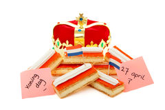 Typical Dutch tompouce sweet with crown Royalty Free Stock Image