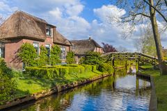 Typical dutch village Giethoorn in Netherlands Royalty Free Stock Photography