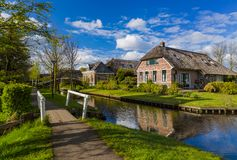 Typical dutch village Giethoorn in Netherlands Royalty Free Stock Photos