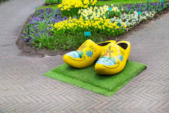 Typical dutch wooden clogs or klompen, painted with windmill Royalty Free Stock Photography