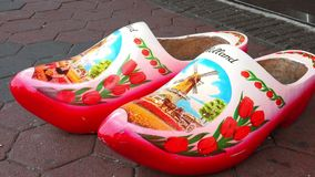 Typical dutch wooden shoes in Holland  City of Amsterdam. Typical dutch wooden shoes in Holland  Amsterdam Netherlands videoclip stock video