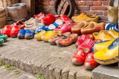 Typical Dutch wooden shoes Stock Images