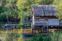 Fishing houses in Borneo river. Typical dwelling indigenous fishermen on Borneo rivers Stock Image