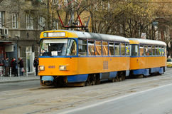 Typical Eastern Europe tram Royalty Free Stock Photo