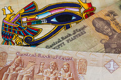 Typical Egyptian papyrus and different banknotes Royalty Free Stock Image