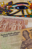 Typical Egyptian papyrus and different banknotes Royalty Free Stock Images