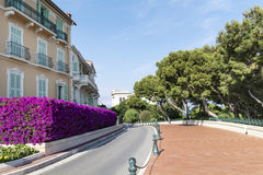 Typical empty street in old town in Monaco in a sunny day Royalty Free Stock Photo