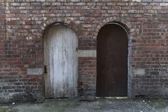 Typical English houses. Wooden doors royalty free stock photo
