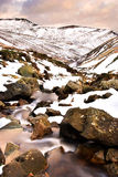 Typical English Winter Landscape. View of melting snow working it's way down a mountainside in the Peak District, Edale, England Stock Images