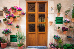 Typical entrance with flowers in Valldemossa Stock Photo