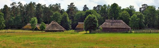 Typical, ethnographic wooden house. Typical, antic, ethnographic wooden house in Rumsiskes, Kaunas district in Lithuania Royalty Free Stock Photo