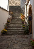 Typical European Alley in Szentendre - beautiful stairs in a narrow streets, Hungary Royalty Free Stock Image