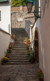 Typical European Alley in Szentendre - beautiful stairs in a narrow streets, Hungary Stock Photos