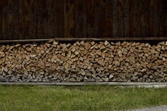 Typical european woodshed in the Alps. Nice woodshed in the Alps stock photography