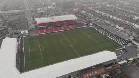 Grimsby, United Kingdom - March 1, 2019: Aerial view of the Grimsby Town Football Club Stadium named Blundell Park. Typical example of a lower league stock video footage