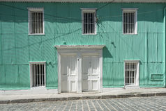 Typical faсade covered in zinc in Valparaiso Stock Photography