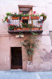 Typical facade balcony and door in Catalunya Stock Images