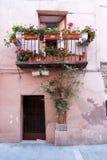 Typical facade balcony and door in Catalunya Stock Images