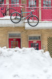 Typical facade of a condominium in Montreal, with a hanging bike Royalty Free Stock Photos