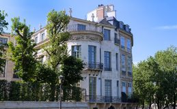 The traditional facade of Parisian building, France. Royalty Free Stock Image