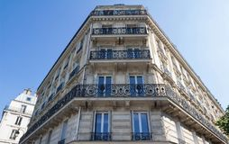 The traditional facade of Parisian building, France. Royalty Free Stock Images