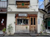 Typical facade of a restaurant in the Yakana Ginza in Tokyo, Japan stock image