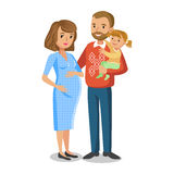 Typical family in love, little girl and parents, pregnant woman vector illustration