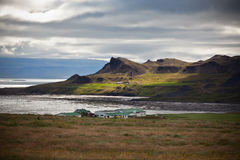 Typical Farm House at Icelandic Fjord Coast Royalty Free Stock Image