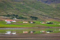 Typical Farm Houses at Icelandic Fjord Coast Royalty Free Stock Image