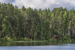 Typical Finnish cottages in the woods, Punkaharju, Lake District, Finland Stock Photo