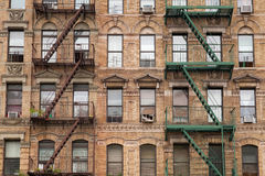 The typical fire stairs on old house in New York Stock Photos