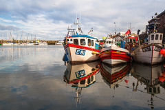 Typical fishing boats in the Scarborough Royalty Free Stock Photography