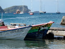 Typical fishing boats in the windward islands Stock Photos