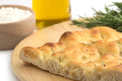 Typical focaccia bread Royalty Free Stock Photo