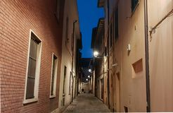 Typical folkloristic Fano`s street. A tipical folkloristic street in a historical center of Fano, in italy stock photos