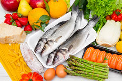 Typical foods for a balanced diet Stock Photo