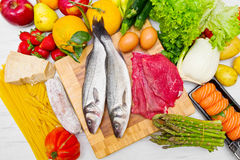 Typical foods for a balanced diet Royalty Free Stock Images