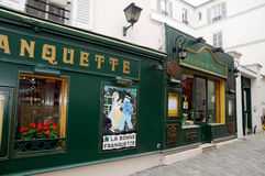 Typical French Bistrot in Montmartre Stock Images