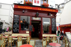 Typical French Bistrot in Montmartre Royalty Free Stock Image