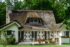 Typical french countryside house with thatch roof Royalty Free Stock Photo