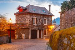 Cozy street in Old Town of Annecy, France Royalty Free Stock Photography