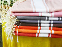 Typical french souvenir detail of stacked colorful fabric Royalty Free Stock Photography